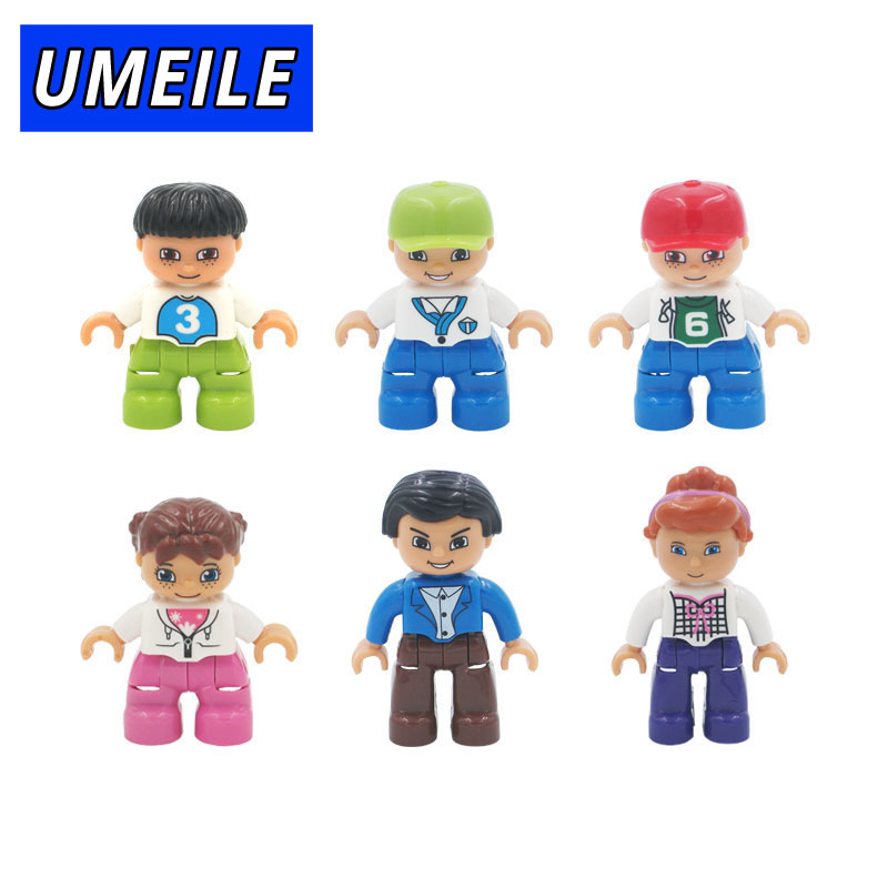 UMEILE Brand 6pcs/set Figure Happy Family Dad Mom Brother Sister Block 3-6 Years Babys Toys Compatible with Duplo Gift