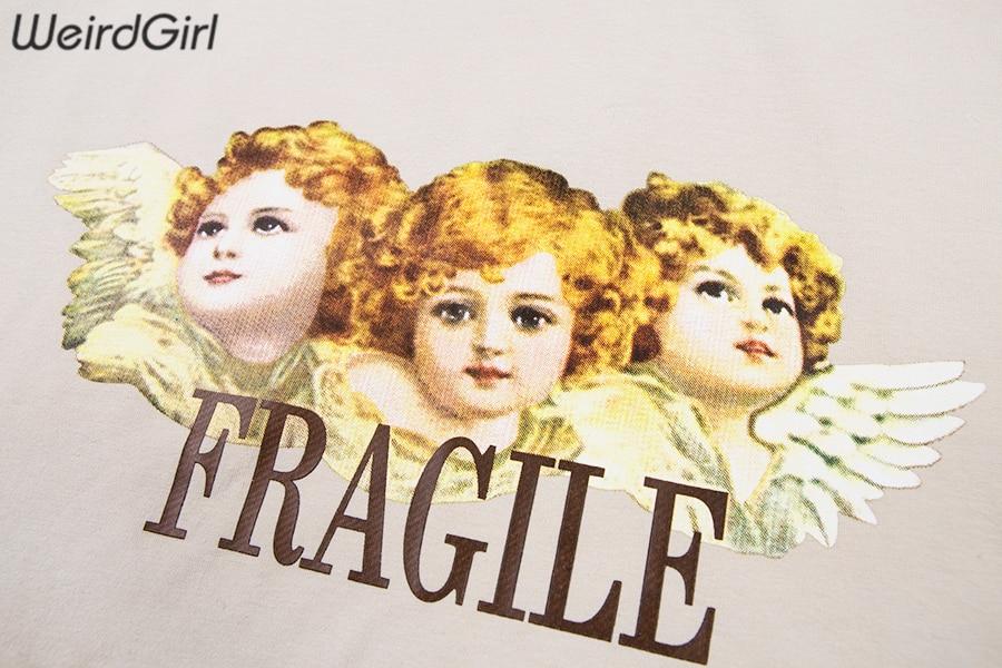 Weirdgirl Women Baby Angel Printing Casual Fashion T-shirts letter Short Sleeve O-Neck Khaki Loose Female Tees Summer New 19 12