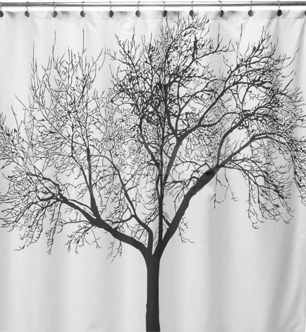 With creative shower curtains white and black creative shower curtain - Bathroom Fabric Shower Curtain Landscape Big Tree Design Waterproof 12 Hooks China Mainland
