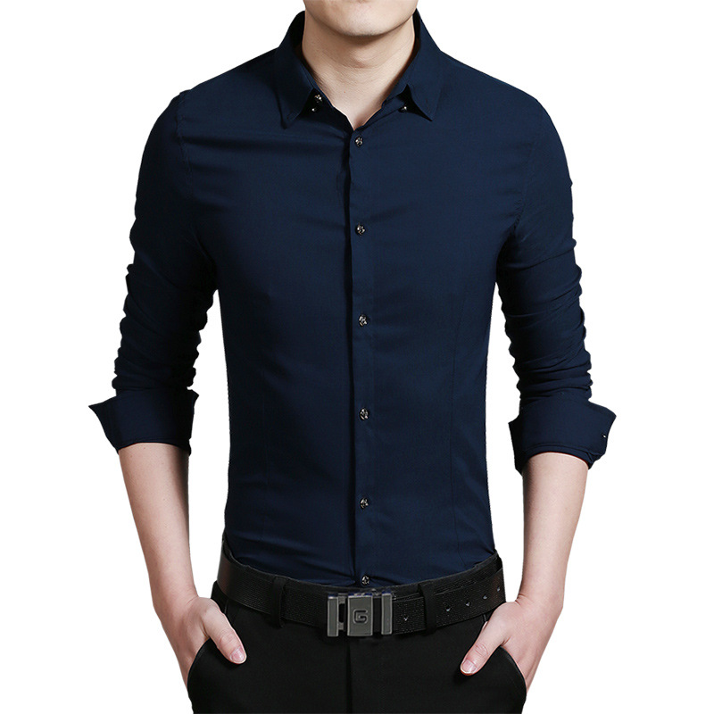 2016 New Fashion Casual Men Shirt Long Sleeve Elastic Slim Fit ...