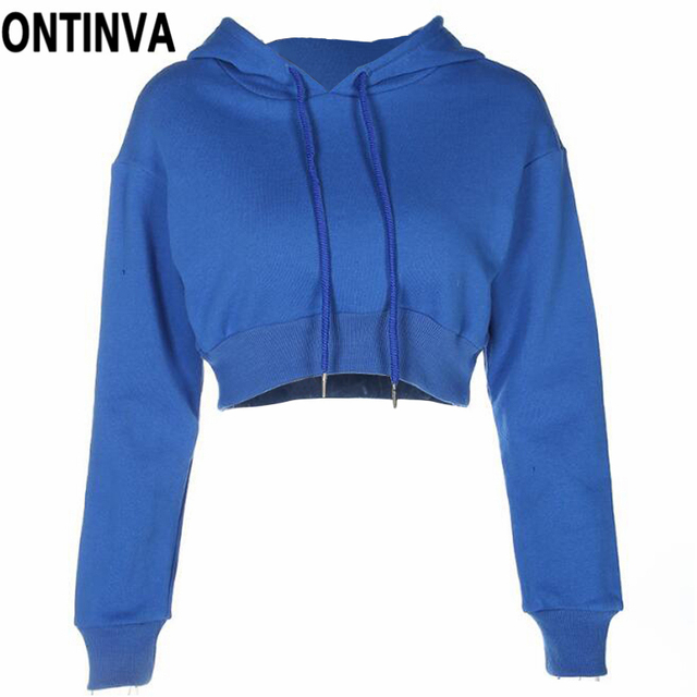9e5faff6b9d Fashion Women Short Hoodies with Hat Royal Blue Female Solid Crop Top  Pullover Chic Sweatshirts Long