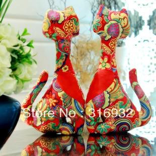 C3 Free Shipping Gododo cloth art cat lovers wedding doll gift, 1pair