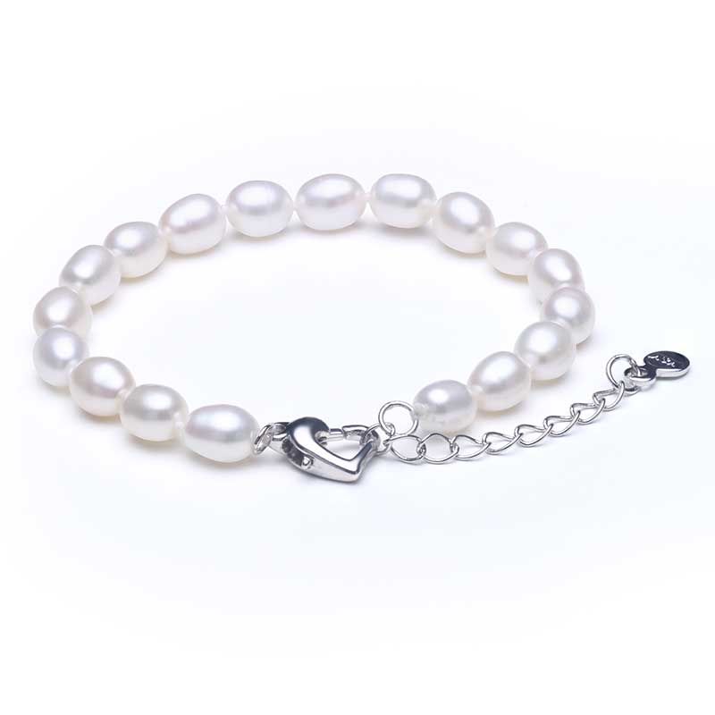 2019 Hot 925 Sterling Silver Natural Freshwater Pearl Strand Armband - Fina smycken - Foto 3