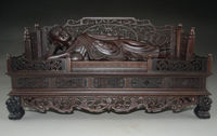 14 Inch A Rare Large Chinese Rosewood Hand Carved Giant Sleeping Buddha Statue