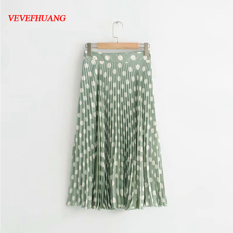 2018 New Summer Female Skirts Women Emerald Green Wave Polka Dot Pleated Tulle Skirt Casual Feminine Vestidos Midi Maxi Skirt