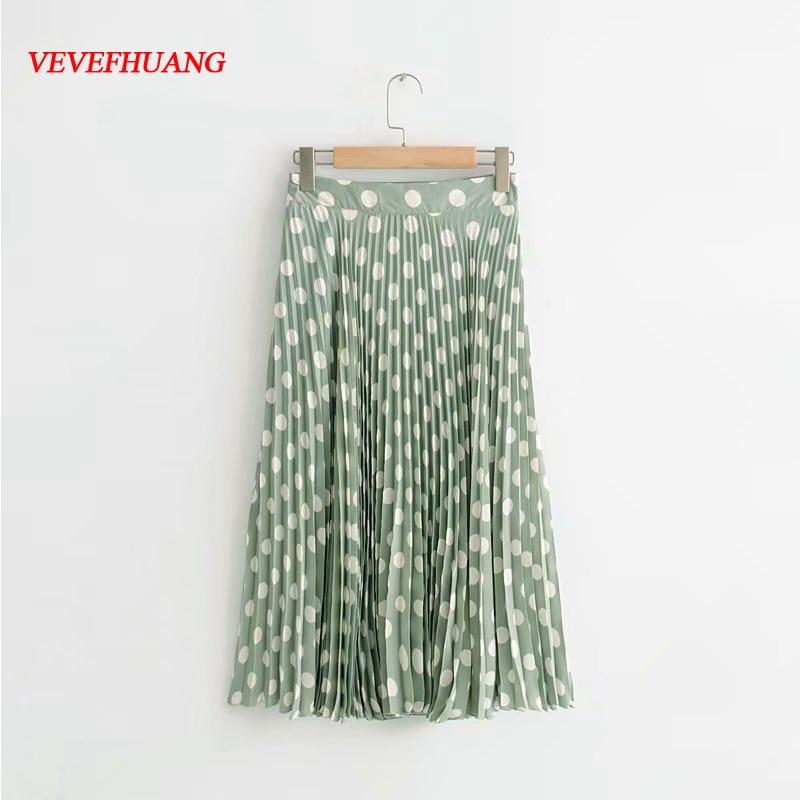 2018 New Summer Female Skirts Women Emerald Green Wave Polka Dot Pleated Tulle Skirt Casual Feminine Vestidos Midi Maxi Skirt