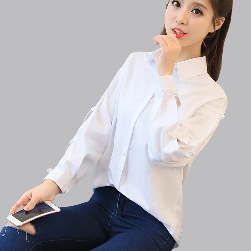 Camisas Femininas Manga Longa 2017 Beading Hollow Out Long Sleeve White Blouse Autumn Fashion Women Tops