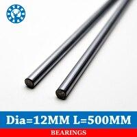 2pcs Lot Cnc Linear Shaft Chrome OD 12mm L 500mm WCS Round Steel Rod Bar Cylinder
