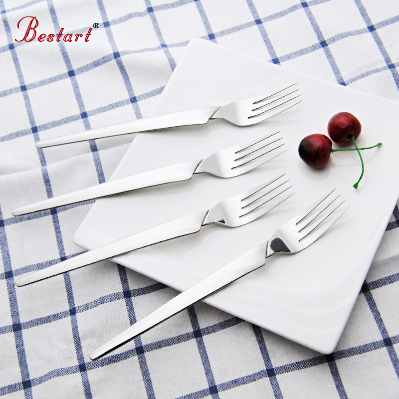 6PCS Set Dinner Stainless Torch Shape Sliver Cutlery Set Korean Style Long Handle Dining Table Forks