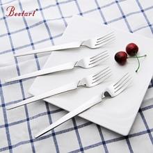 6PCS/Set Dinner Stainless Torch Shape Sliver Cutlery Set Korean Style Long Handle Dining Table Forks Salad Dessert Fork Flatware