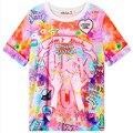 Novidade Japonês Camisa de T Para Mulheres Unicórnio/Rainbow/Cavalo Prints Ladies tops Verão Dos Desenhos Animados do Kawaii Bonito camiseta Vestuário feminino