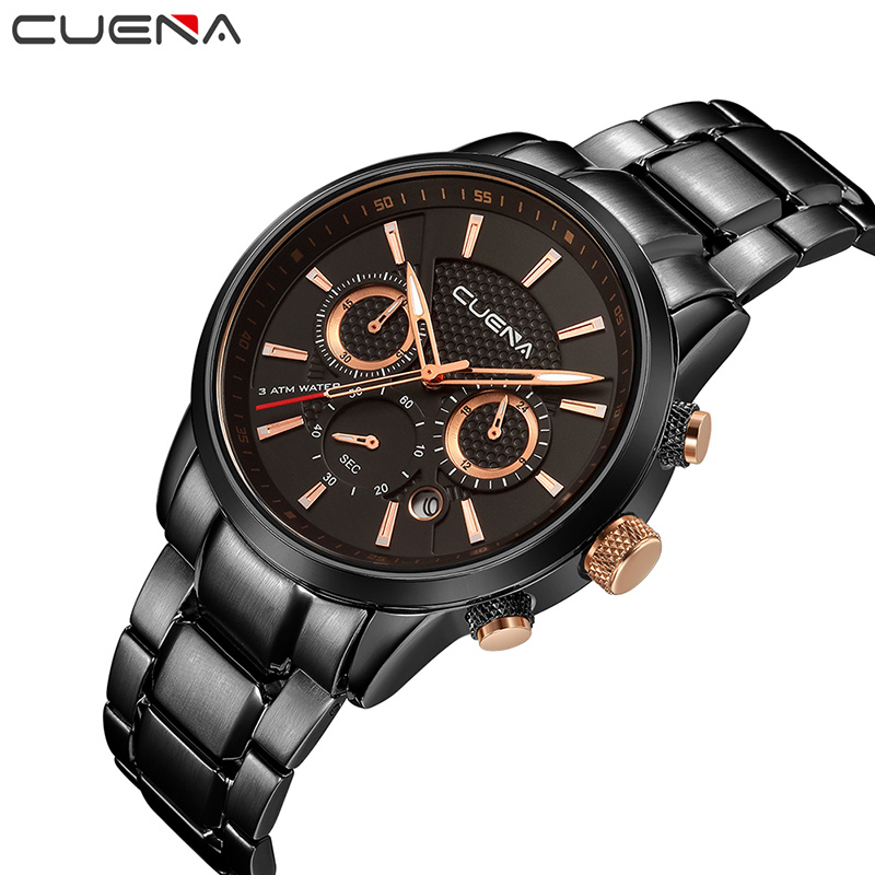 CUENA Men Quartz Watch Fashion Mens Watches Top Brand Luxury Waterproof Stainless Steel Wristwatches Man Clock Relogio Masculino orkina golden watches for men top luxury brand mens quartz wristwatches stainless steel band working sub dials 6 hands watches