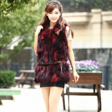 fashion Real Fox Fur Waistcoat Vests Warm Natural fur vest V-neck sleeveless mail Red pictures Women's winter jacket coats