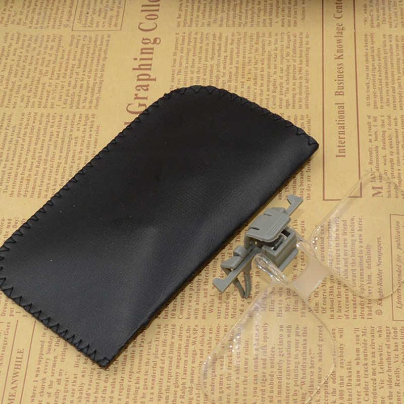 เลนส์อะคริลิค ABS แบบพกพาจับแว่นขยาย 2X แว่นขยาย Loupe พร้อมกระเป๋าสีดำสำหรับอ่านหนังสือสะสมแสตมป์