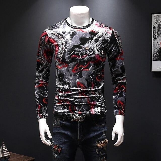 2018 autumn and winter new Chinese style dragon pattern men's diamond print gold velvet long-sleeved shirt T-shirt
