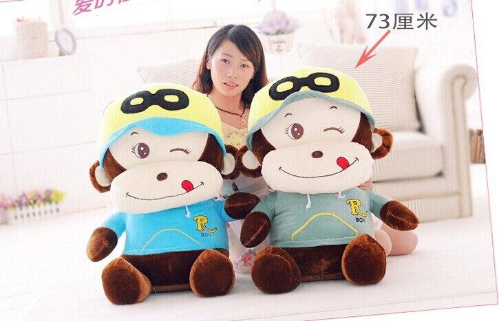 huge 73cm lovely happy naughty monkey plush toy monkey doll ,birthday gift w6158 lovely giant panda about 70cm plush toy t shirt dress panda doll soft throw pillow christmas birthday gift x023