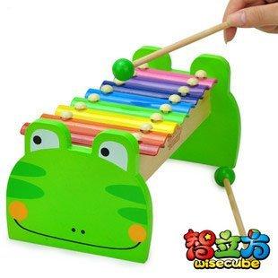 Candice guo! nueva llegada de madera de juguete 8 escalas golpe de la mano xilófono musical con forma de rana verde 1 unid