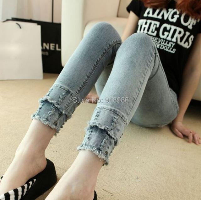 Calças de Brim elásticas Femininas Calças Lápis calças de Brim da Mulher Com Crânios Mulheres Vintage Ripped Denim Sexy Jeans Calças