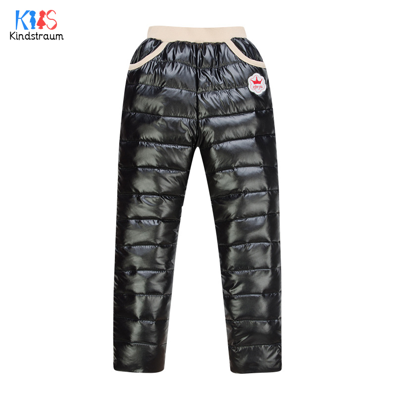 Winter 2016 New Arrival Boys Girls Thicken Down Pants Kids Warm High Waist Solid Pants Children