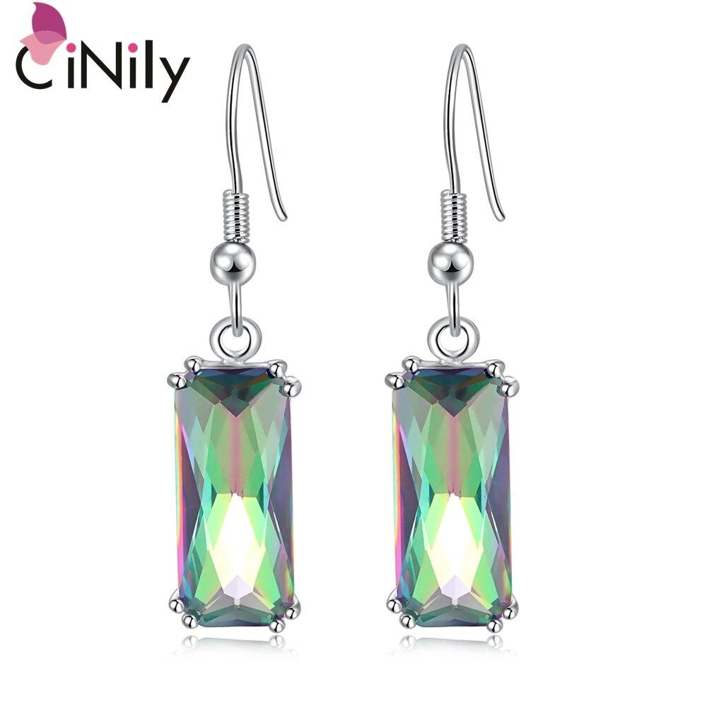 CiNily Erstellt Mystic Stein 16x7mm Silber Überzogene Großhandel für Frauen Schmuck Engagement Tropfen Ohrringe 1 1/2
