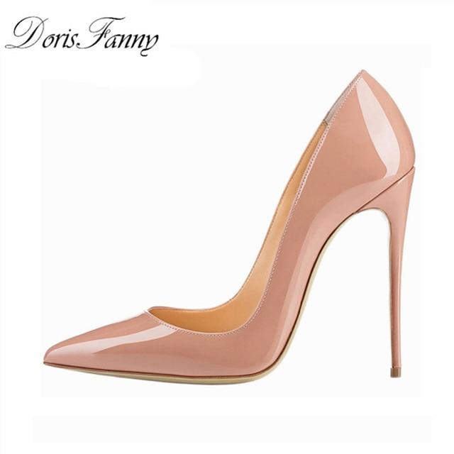 Женские туфли-лодочки на высоком каблуке; офисные туфли телесного цвета; 2017 г.; женские свадебные туфли из лакированной кожи с острым носком; цвет красный, белый; женские туфли на шпильке 12 см