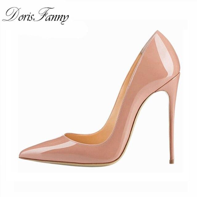 Donna tacco alto pompe ufficio scarpe nude 2017 Punta A Punta In Vernice rosso bianco donne scarpe da sposa scarpe da sposa 12 CENTIMETRI donne Tacchi A Spillo