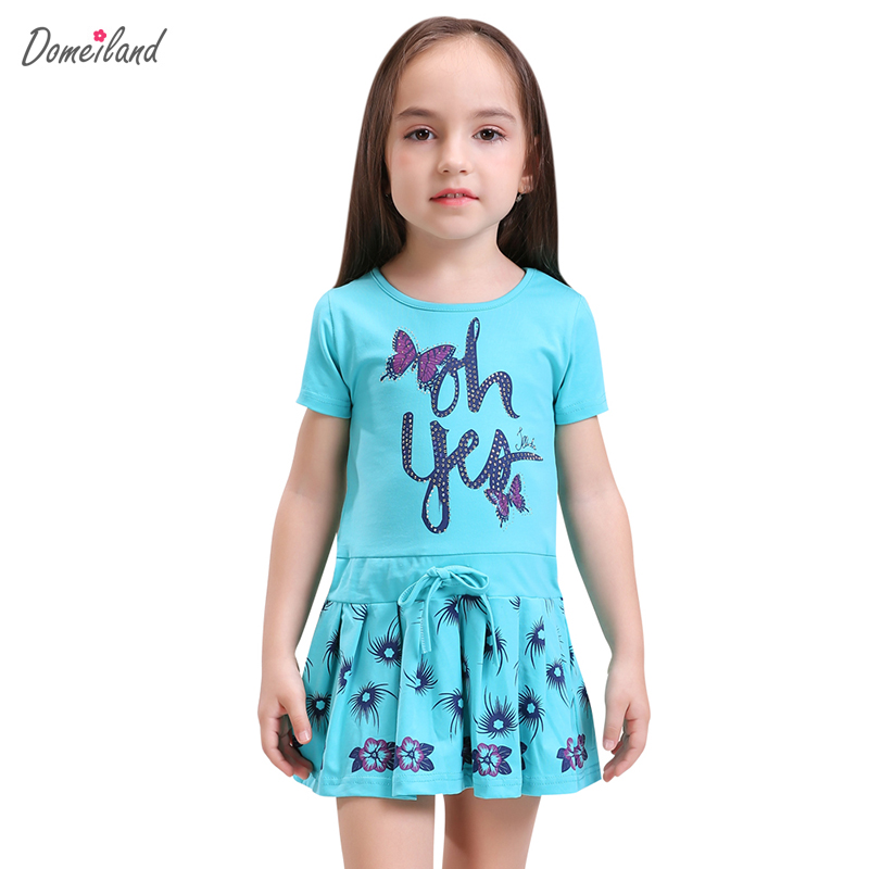 2017 Fashion summer Domeiland Brand Children Clothes cute girl cotton print cute bow Princess dress Kids Party clothing new girls dress brand summer clothes ice cream print costumes sleeveless kids clothing cute children vest dress princess dress