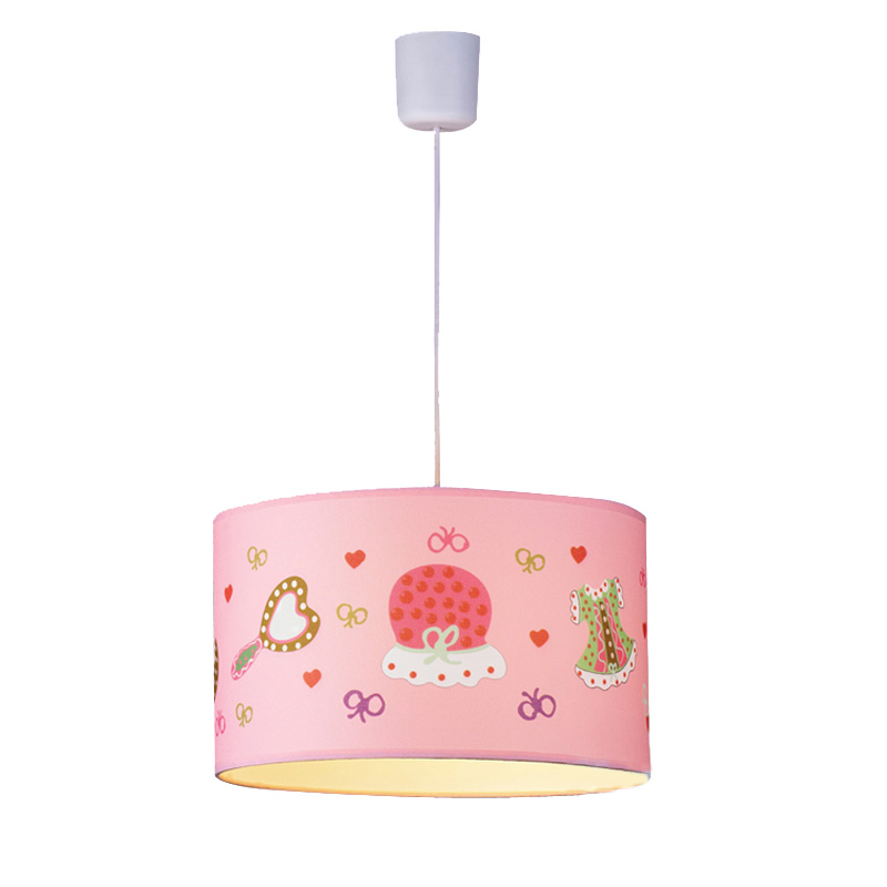 Pink Fabric Princess Bedroom Pendant Lamps Creative Children's Room Girl's Room Cartoon Pendant Light Fixtures