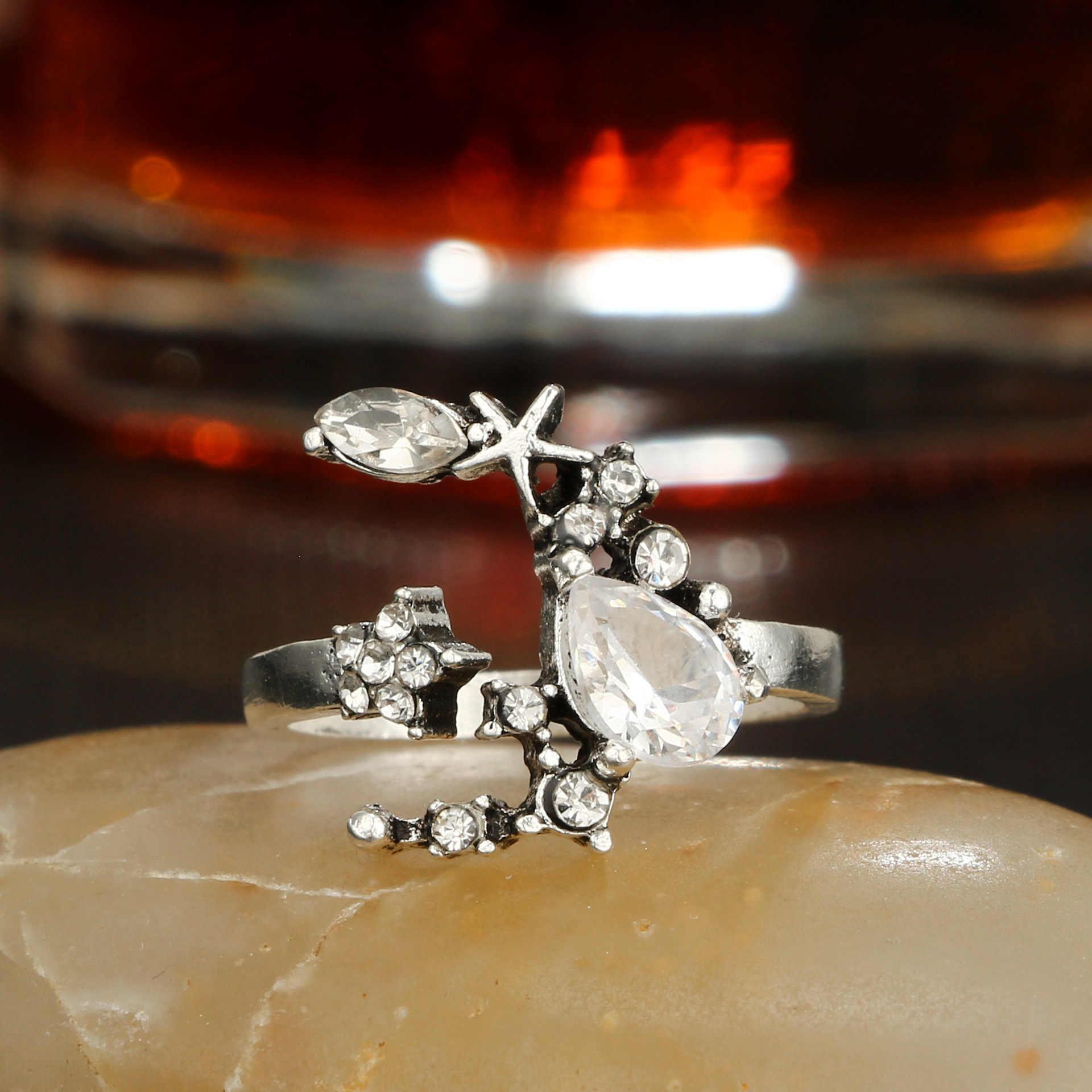 34 สไตล์ Starry Night Shining VINTAGE Knuckle แหวนผู้หญิง Boho ดอกไม้เรขาคณิตชุดแหวนคริสตัล Bohemian เครื่องประดับนิ้วมือ