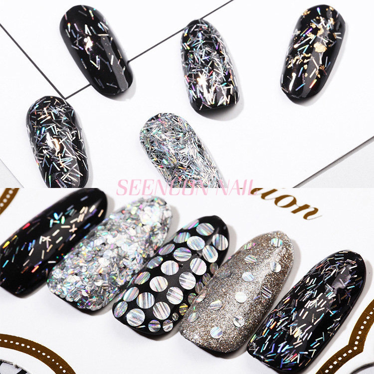 New Trend 4 boxes/set laser gold/silver long strip Thin Nail Art ...