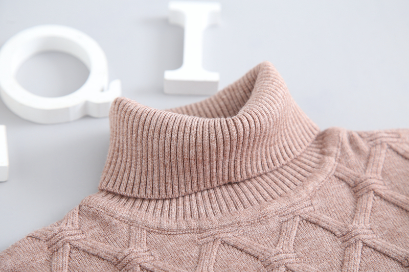 Image 4 - Winter Autumn 2T 7T Pure Color Winter Boy Girl Kid Thick Knitted Bottoming Turtleneck Shirts Solid High Collar Pullover Sweater-in Sweaters from Mother & Kids