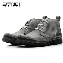 HOT!! Retro Martin Boots Round Toe Work Safety Soldiers Ankle Men Winter Super Warm Plush Cotton Shoes