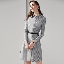 Women's Shirt dress new 2019 spring long sleeve OL dress Fashion belted stripe dress G135 all over florals belted shirt dress