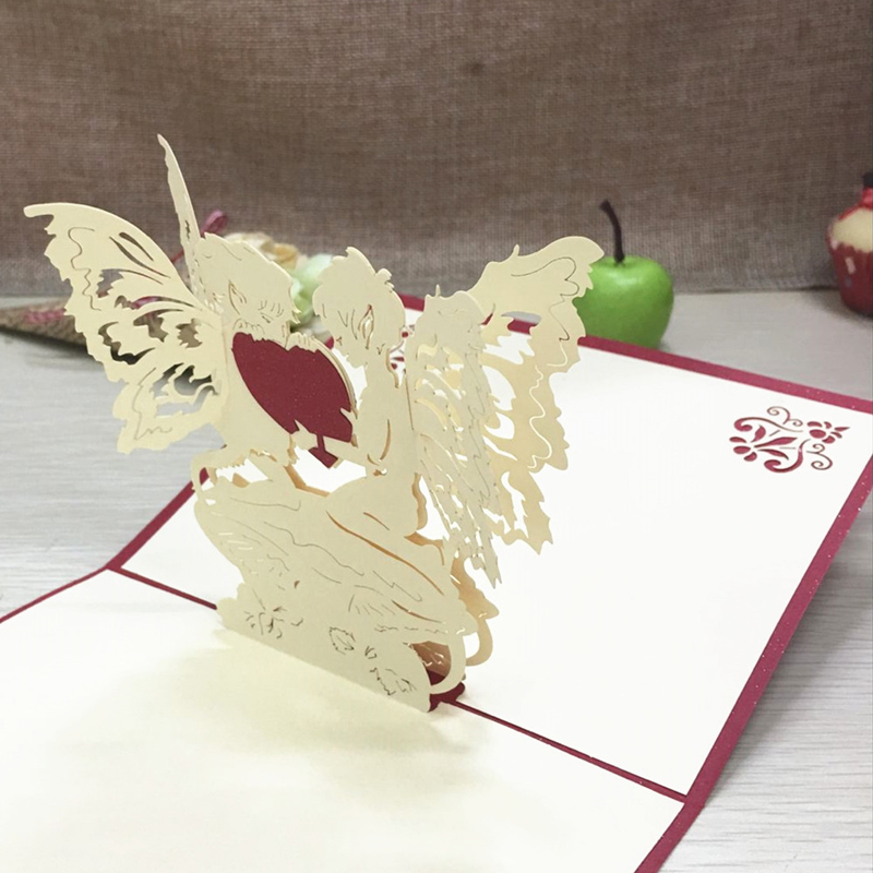 1pcs Angel Heart Laser Cut Paper Greeting 3D Pop Up Kirigami Card Wedding Invitation Birthday Valentine's Day Postcards Gifts (3)