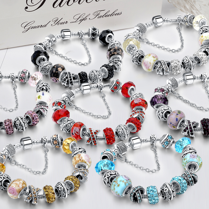 CHICVIE Black Crystal Chain Link Bracelets For Women Female Charm Custom Bracelets & Bangles DIY Silver Color Jewelry SBR160014 10