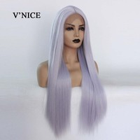 V'NICE Grayish White Straight Synthetic Wig Hair Heat Resistant 150% Density Synthetic Lace Front Wig for Black Women