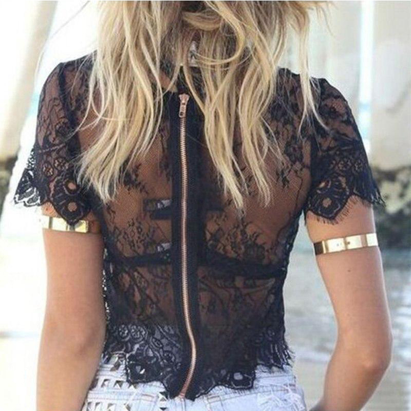 Summer Womens Tops Tank Short Sleeve Elegant Crochet Lace Crop Top Hollow Out Fashion Vest For 2019 Hot