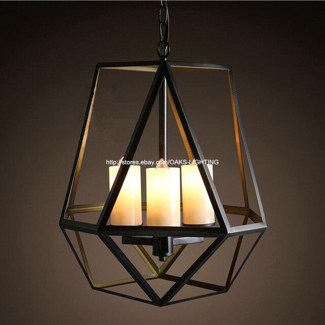 Vintage metal cage candlestick dining room chandelier lighting bar restaurant industrial ceiling fixtures light