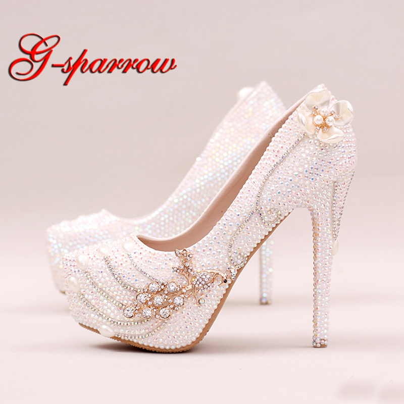 Sparkling Rhinestone Bridal Shoes Stiletto Heel White AB Crystal Wedding Party Shoes Bling Bling Prom Pumps Cinderella Shoes ab crystal heels luxury diamond platform bridal pumps wedding shoes lady sparkling prom party shoes mother of bride shoes