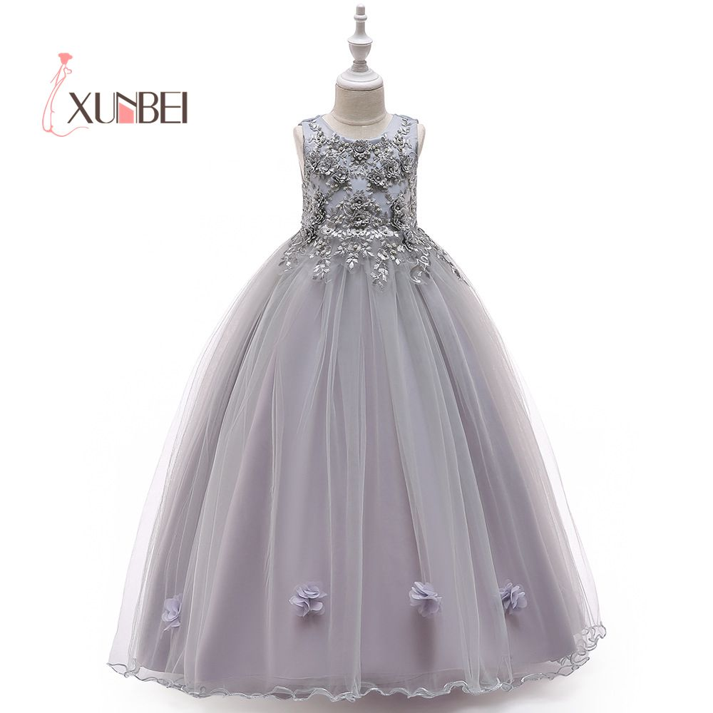 4 Colors   Girls   Pageant   Dresses   Applique Beaded   Flower     Girl     Dresses   2019 Floor Length First Communion   Dresses   Wedding Party Gown
