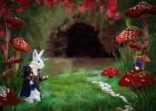 Alice país das maravilhas coelho branco tea party cogumelos Fundo pano de Alta qualidade de impressão Computador pano de fundo da parede do Vinil