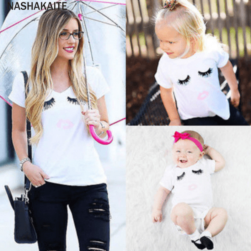 Mommy and me clothes Newborn Infant Kids Baby Boy Girl Clothes Eyelash Print Romper Family t shirt Mother and Daughter Clothes telle mère telle fille vetement