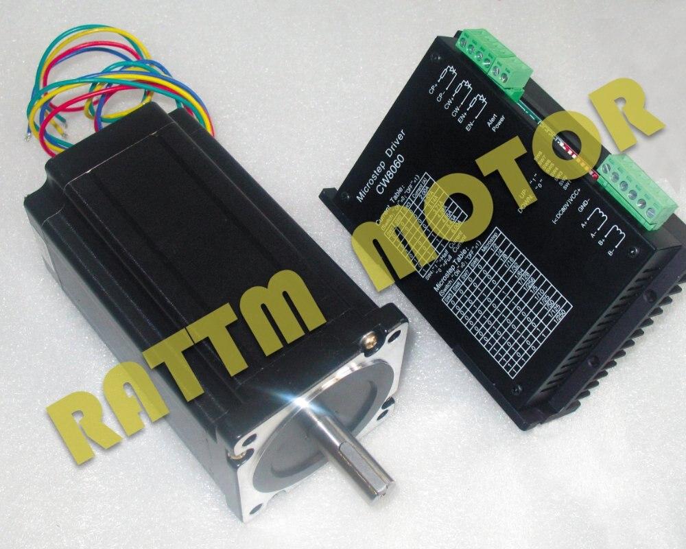 Nema34 stepper motor 1600oz-in L154mm 5.0A & Driver 6A/80VDC 256 Microstep for cnc router machine cw8060 stepper motor driver 80vdc 6a 256 microstep for cnc router for nema23 34 stepper motor