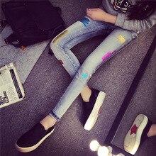 Весной 2016 женщин новые брюки носить bronzing патч джинсы стрейч ноги