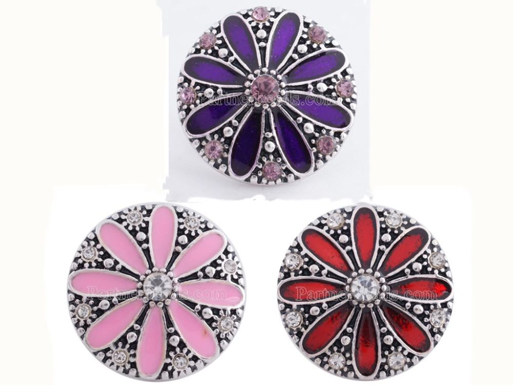 wholesale Press Studs  Oil Painting flower Snap buckle Bracelet For Women charm DIY 18mm Snap beads Jewelry
