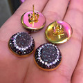 trendy simple design round grey black blue druzy stone charms pave small black white rhinestone pearl stud earring for women