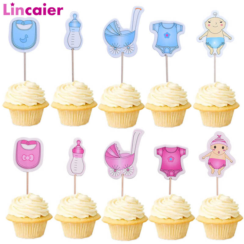 20pcs Baby Shower Cupcake Toppers Babyshower Boy Girl Photo Booth Props Accessories Gender Reveal Party PhotoBooth Kits