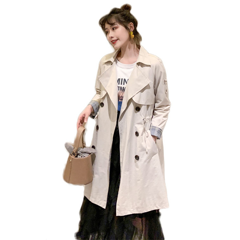 2019 New Spring Autumn Women's Korean Windbreaker Female Long Section Chic   Trench   Coat Double-Breasted Drawstring Outerwear M226