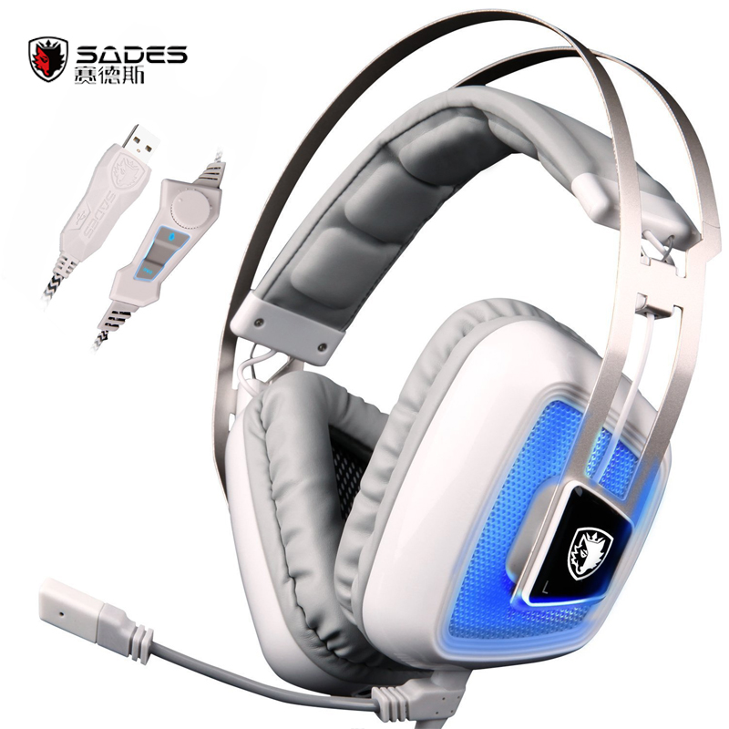 100% Original Sades A8S Vibration Function 7.1 Surround Sound Professional Gaming Headphones Games Headset with Mic for PC Gamer sades 3 in 1 pro gaming headset 7 1 surround sound stereo headphones earphones casque with mic professional gamer gaming gift