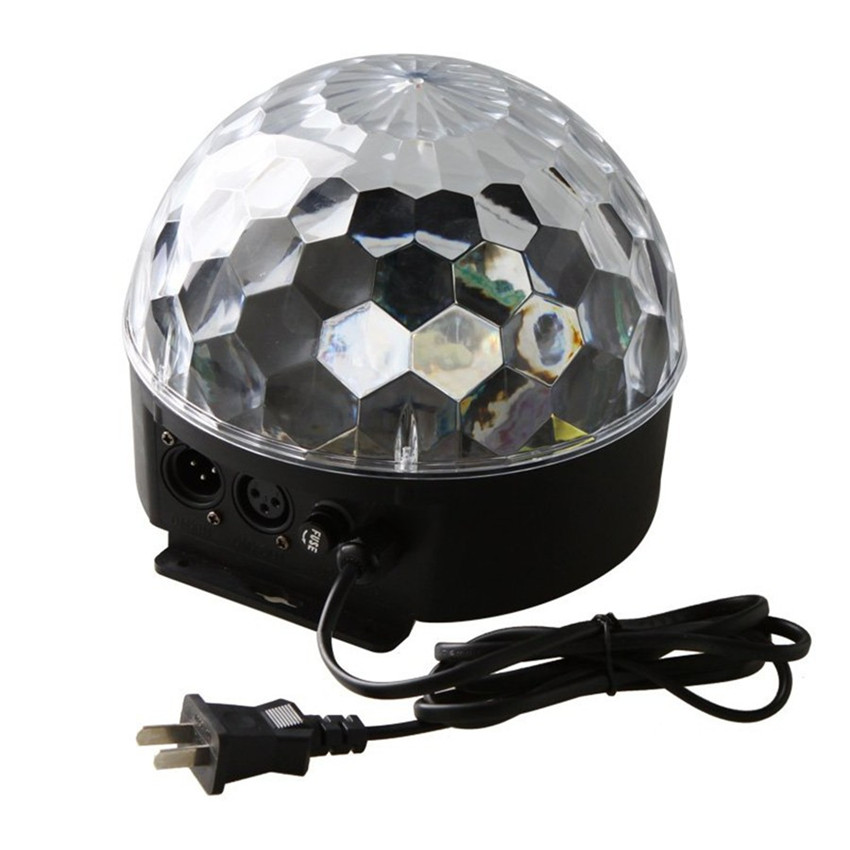 18W Voice Activated RGB Magic Ball Led Stage Lamp 6 Colors Disco Laser Projector Light Voice Control DJ Disco Party Light 6w e27 led stage light rgb lamp with voice activated mp3 projector crystal magic ball rotating disco dj party stage lighting
